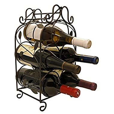Rosabel 5 Bottle Metal Wine Rack for Tabletop or Countertop by KitchenEdge, Free Standing, Black, Wrought Iron