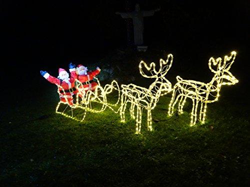 XXL 672 LED *Magic* DOPPEL-Rentier+Schlitten+WEIHNACHTSMANN 8 Programme ca. 2 Meter lang +70 cm hoch Premium Set~(2 Rentiere+2 Schlitten+2 Weihnachtsmänner) warmweiss~IP44~ELCH~NEUHEIT 2020