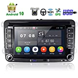 Car Stereo Double Din Android GPS Navigation Headunit Car Radio for VW Golf Passat Tiguan Polo Jetta Skoda Seat EOS 7' Touch Screen Autoradio with Bluetooth WiFi, Two USB Port, FM + Rear View Camera