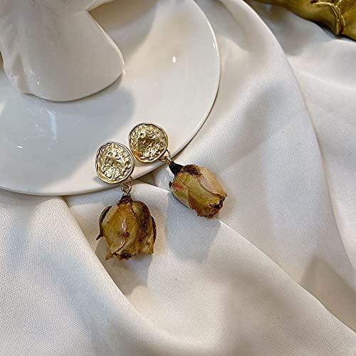 JIAQINGRNM Pendientes para Mujer Vintage Flor Inmortal Rosa Roja Pendientes de Flores Secas Flor Real Bosque Pendientes Pendientes Mujeres Regalo Ideal para Ella