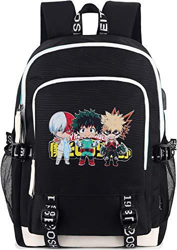 Roffatide Anime My Hero Academia Backpack Printed College School Bag Laptop Backpack with USB Charging Port & Headphone Port