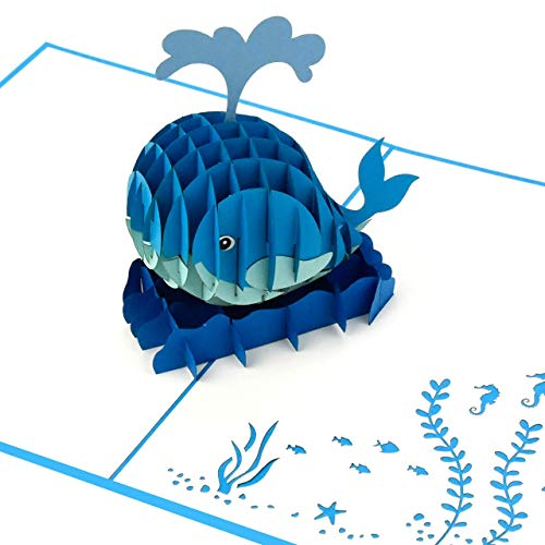 XXL 3D-Pop-Up-Karte mit süßem Wal, diverse Anlässe, Geburtstagskarte, Glückwunschkarte, Grußkarte als Dankeschön, originelle Geschenk-Karte, Danksagungskarten, Alles Gute Dankeskarten