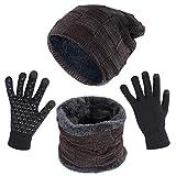 Opret Gorro Bufanda Guantes Set de Invierno para Hombre y Mujer, Unisex Gorras de Punto y Bufanda con Felpa y Guantes Tactiles (Marrón)