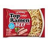 Nissin Top Ramen Noodle Soup, Beef, 3 Ounce (Pack of 24)