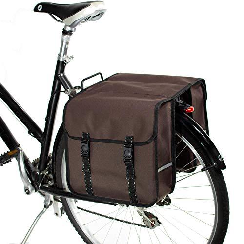 BikyBag Klassisch Doppel Fahrradtasche Gepacktragertasche (Braun)