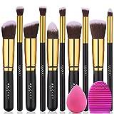 BEAKEY Set de pinceles de maquillaje Kabuki Foundation Foundation Face Powder Blush Pinceles sombra de ojos Kit de pinceles de maquillaje con esponja licuadora y pincel de huevo (10 + 2 piezas, ORO)