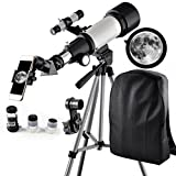 XHHWZB Telescopio, Recorrido telescópico, telescopio de Refracción astronómico DE 70 mm con Alcance de trípode y buscador, telescopio Portátil para Principiantes de Niños (Blanco)