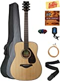 Yamaha FG800 Solid Top Folk Acoustic Guitar - Natural Bundle with Gig Bag, Tuner, Strings,...