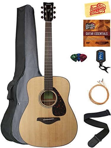 Yamaha FG800 Solid Top Folk Acoustic Guitar - Natural Bundle with Gig Bag, Tuner, Strings, Strap, Picks, Austin Bazaar Instructional DVD, and Polishing Cloth