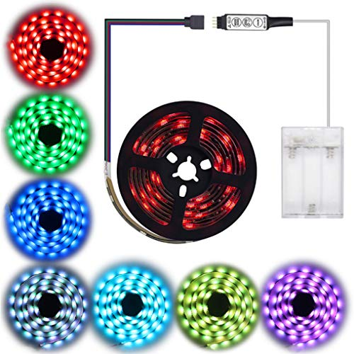 Led Strip Lights Battery Powered abtong RGB Led Lights Strip with Mini Controller Waterproof Led Strip Rope Lights Battery Led Lights Multi Color Changing Lights 2M 6.56ft