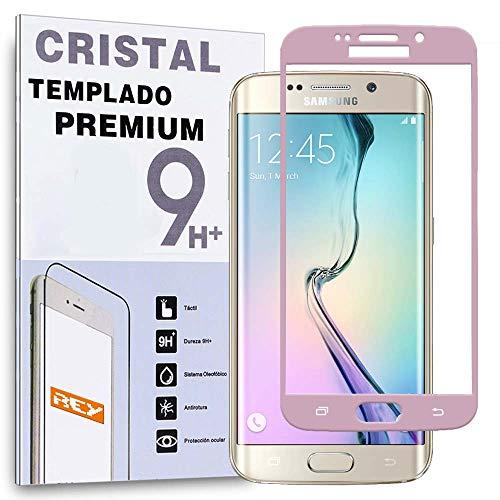 Protector de Pantalla Curvo para Samsung Galaxy S6 Edge, Rosa, Cristal Vidrio Templado Premium, 3D / 4D / 5D