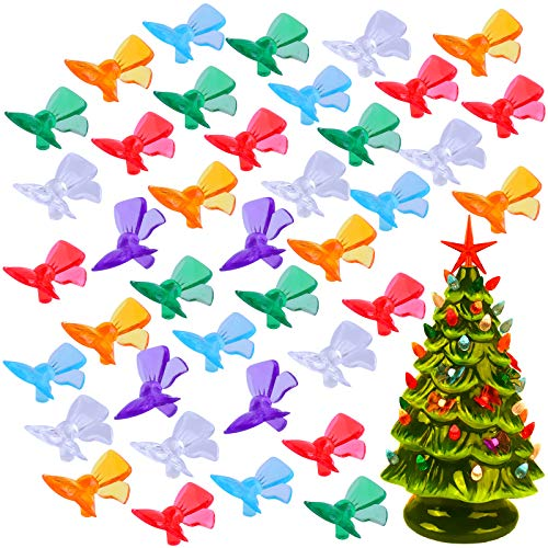 Ruisita 150 Pieces Multi Color Plastic Bowknot Ceramic Christmas Tree Bulbs Creative Festive Bowknot Pervious to Light Ornaments