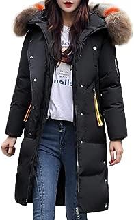 NEARTIME Womens Warm Coat, Fashion Winter Faux Fur Zipper Outerwear Hooded Thick Slim Long Jacket Casual Overcoat
