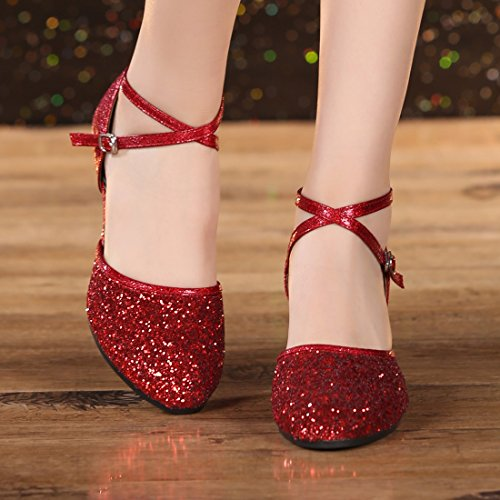 DorkasDE Damen Mädchen Tanzschuhe Latein Ballroom Tanz Schuhe Gummi Sohle mit 5.5cm Absatz - 4