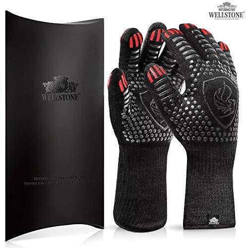 WELLSTONE® Premium Grillhandschuhe hitzebeständig bis 500 °C - 36cm extra lang hochwertige Kochhandschuhe Backhandschuhe für BBQ Kochen Backen