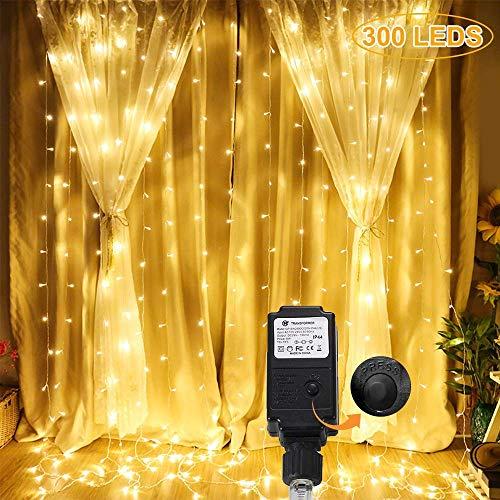 GreenClick Lichtervorhang Deko - 300 LEDs 5,4 m lang Licht Vorhang 12×2.5M Lichterkette Lichtvorhang Warmweiß, 8 Modi LED Vorhang Lichterketten strom für Zimmer, Weihnachten, Balkon Innen/Außen