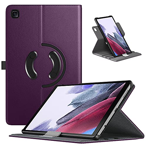 TiMOVO Hülle Kompatibel mit Samsung Galaxy Tab A7 Lite 8.7 2021 Release (SM-T220 / T225 / T227), PU Lederhülle 90° Drehbar Multi-Winkel Hülle Ultra Dünn Hülle mit Fest Gummiband, Violett