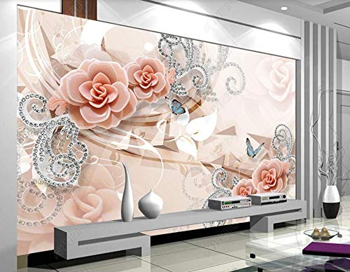 Carta Da Parati 3D Farfalla Di Gioielli Fiore Rosa Fotomurali Murales Da Parete 3D