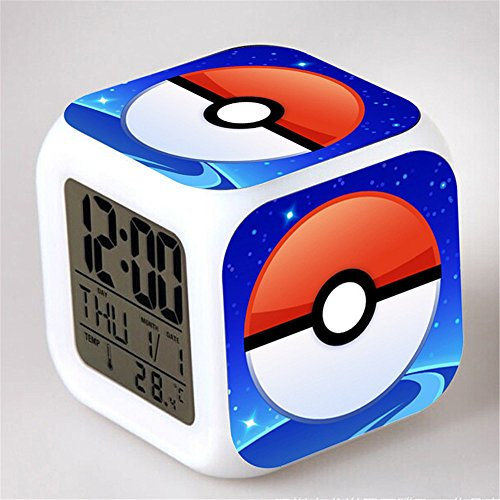 Japanese Anime POKEMON ball Color Change Glowing Digital Alarm Clock