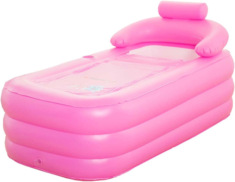 Gxf air baths Inflatable Bathtub - Petal Bath Large-thickening Foldable Plastic Bath Adult Bathtub Suitable for Bathroom Bedroom Garden Swimming Pool bathtubs (color   PINK)
