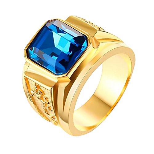 Bonarty Anillo de Dragón con Grabado de Oro Dominante de Personalidad con Piedra Preciosa Azul Grande - Oro y Azul, 8