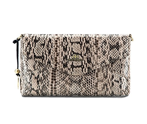 WITTCHEN Klassische Tasche | 16x28cm, Narbenleder | Passend für A4 Größe: Nein | Beige - Braun, Kollektion: Snake | 19-4-557-B