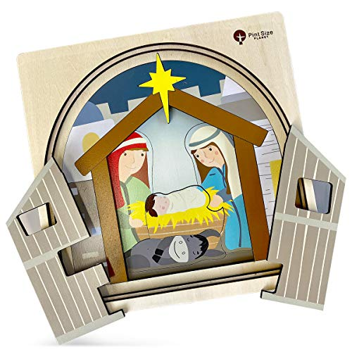 Premium Wooden Nativity Puzzle for Kids | 4 Layers | 35 Piece | Nativity Set | Christmas Story | Jigsaw Puzzle