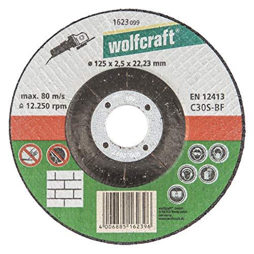 Wolfcraft 1623099 - Disco de corte para amoladora para piedra, cubo deportado, granel Ø 125 x 2,5 x 22,23 mm