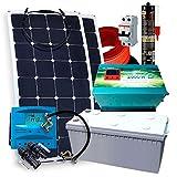 Kit Solar PlusEnergy 12V + 2 Paneles Solares Flexibles 150W + Inversor Cargador 1.000W 25A + Batería GEL 250Ah