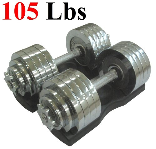 Ringstar One Pair of Adjustable Dumbbells Chrome Plated Metal Total 105 Lbs (2 X 52.5 Lbs) with Trays