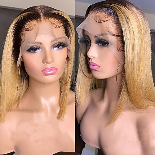1B/27 Short Bob Lace Front Ombre Straight Transparent Lace Frontal T Part Wig 180% Density Brazilian Colored Remy Virgin Hair Blunt Cut Wigs for Women (12inch, 13X6X1 T Parting Wig)