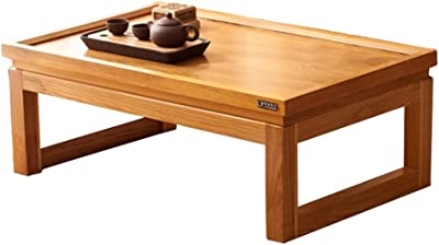 Coffee Tables Kung Fu Tea Table Japanese Bay Window Table Balcony Tea Table Solid Wood Tatami Coffee Table Tables (Color : Wood Color, Size : 50 * 35 * 25cm)