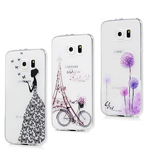 3x Cover per Samsung Galaxy S6, Custodia Silicone Ultra Sottile Antiscivolo Antiurto Slim Bumper Case per Samsung Galaxy S6 - Ragazza + Bici + Tarassaco
