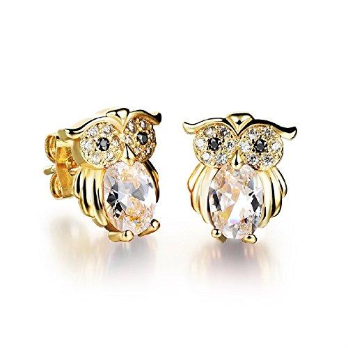 Búhos Pendientes con Blanco Cristales austríacos de Zirconia 18k Chapado en oro para mujer y niña