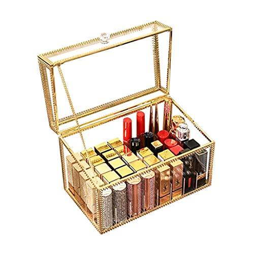 LITINGT Organizador de Maquillaje Hecho a Mano Vintage con Borde de latón, Soporte para Pinceles de Maquillaje, Pinceles de Maquillaje, Organizador de cosméticos, Caja de joyería para decoración de