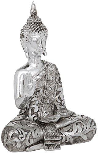 Maturi–Thai Raised Mano superar el Miedo Figura Decorativa de Buda, de Metal, Multicolor, 10,16x 24.13x 33,02cm