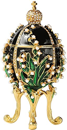 LiuliuBull Caja clásica de la Lanza de joyería de la Vendimia con el Esmalte de Diamantes de Esmalte Adornos de Estilo Victoriano Regalo para la decoración del hogar (Color : Negro)