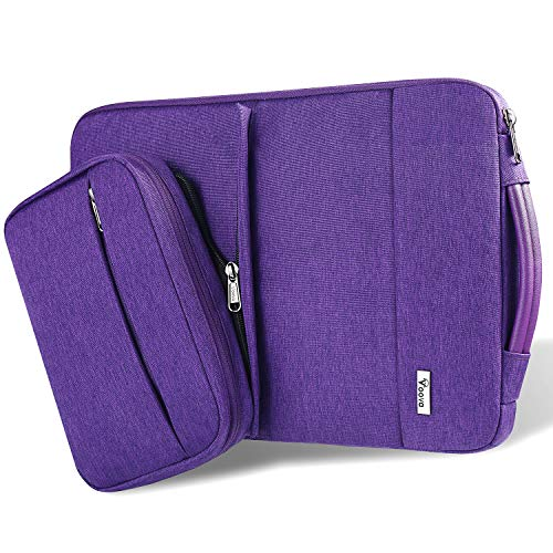 Voova Smart Laptop Sleeve Case Computer Carrying Bag with Attachable Seperate Accessory Pouch, Compatible with 13-13.3 inch MacBook Air/MacBook Pro, 13 XPS/Chromebook/Notebook for Women, Purple