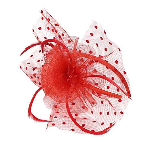 Julhold Haarschmuck Tiara Stirnband Damen Mesh-Blumen Abschlussball Dekoriert Kopfschmuck Retro-stil Partydekoration 20er Jahre Feder Haarreif Kostüm Haarband Festival Zubehör(Rot)