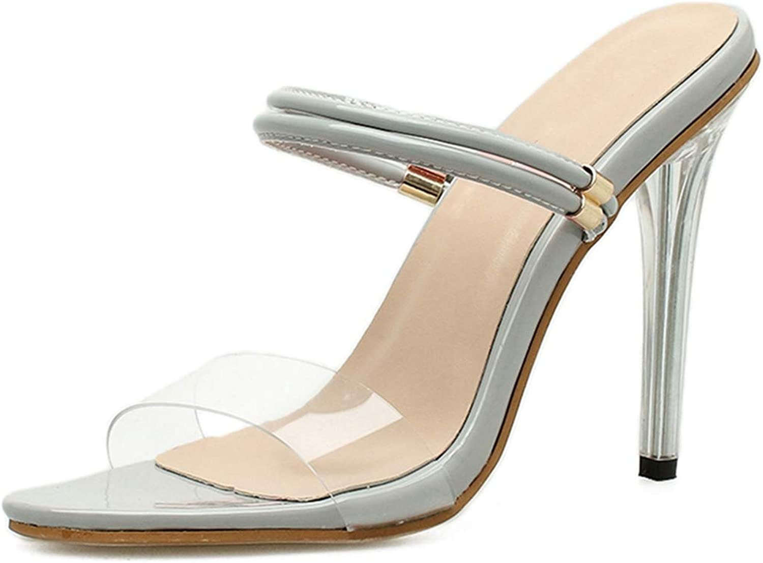 Women's Summer Slippers Transparent and Clear PVC Sandal High Heels Ladies Stilettos shoes