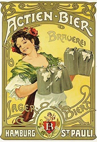 Hamburg St. Pauli Actien Bier Brauerei Blechschild Metallschild Schild gewölbt Metal Tin Sign 20 x 30 cm