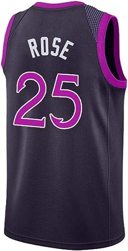 WO NICE Minnesota Timberwolves 25 Derrick Rose Basket Ball Costume sans Manches MouveHommest Gilet Compétition Uniforme Fan Fan Uniforme De Basket-Ball,XXL190195CM 8090kg