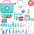 NextX 38 Pcs Toy Medical Kits, Pretend Play Doctor Kit Toys, Kids Electronic Stethoscope Dentist Medical Kit Gifts Boy & Girl Learning Educational Roleplay,
