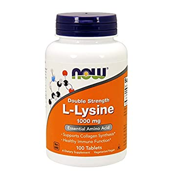 NOW Foods L-Lysine 1000mg 100 Tablets  Pack of 2