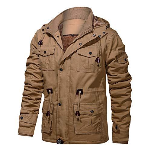 FEDTOSING Winterjacke Herren Innenfleece Militär Übergangsjacke Baumwolle Parka Jacke Cargo Feldjacke Multi Taschen Kapuze(EU Khaki L