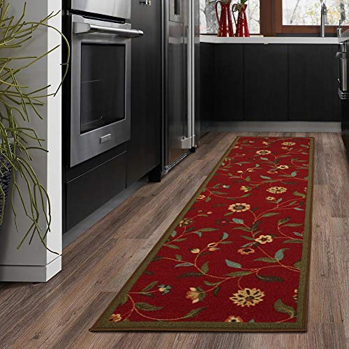 Ottomanson Ottohome Collection Garden Design Modern Runner Skid (Non-Slip) Rubber Backing (20' X 59', Flora) Area Rug, Red Floral