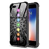 DAHAOGUO iPhone 8 Plus Case,Tempered Glass iPhone 7 Plus Cases Mandala Pattern Design Shockproof Anti-Scratch Case for Apple iPhone 8/7 Plus Mandala Chakra