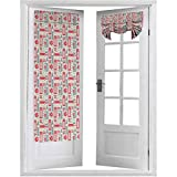 Cortinas francesas para puerta, elementos de la cultura británica, colores retro, diseño de bandera, 1 panel de 66 x 172 cm, cortinas para ventana, color azul coral oscuro
