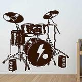 FXBSZ Drum wall sticker set musical instrument sticker drum kit vinilo sticker niños dormitorio decoración música banda mural sticker Azul 57cm x 52cm