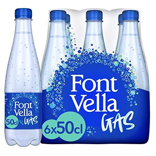 Font Vella Gas, agua mineral natural con gas - pack de 6 x 50cl